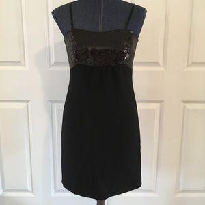 Ann Taylor womens black sequin cocktail dress sz 0